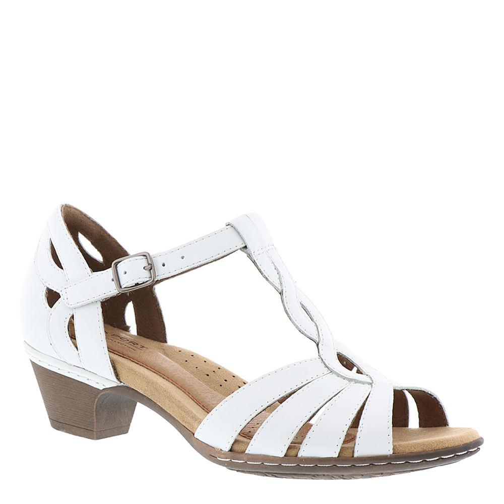 Vintage Style Shoes, Vintage Inspired Shoes Rockport Cobb Hill Collection Abbott Curvy T Womens White Sandal 7 W $119.95 AT vintagedancer.com