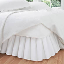 Ruffled Poplin Bed Skirt-White