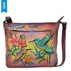 Anuschka Shoulder Bag with Front Zip Pocket