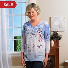Ladies' Artisan Tee Shirt-Snowman Meadow