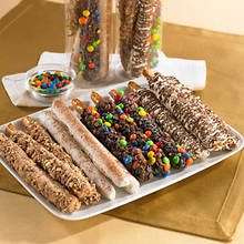 Gourmet Chocolate Dipped Pretzel Rods - Cinnamon and Rainbow Chip