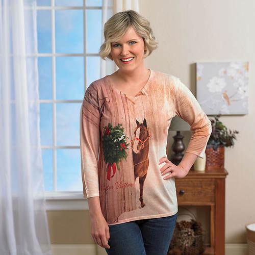 Ladies' Artisan Tee Shirts-Winter Visitor