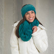 Plush Scarf With Head Warmer-Teal