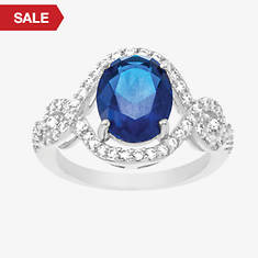Cubic Zirconia & Created Sapphire Open Oval Ring