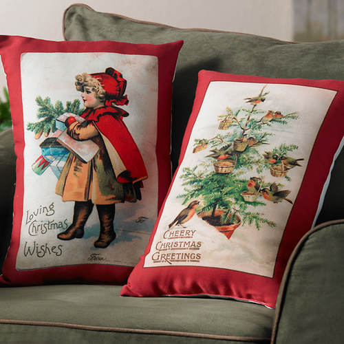 Vintage Christmas Pillows- 2 Pack
