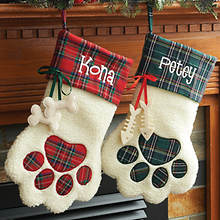 Personalized Plaid Pet Stocking-Dog