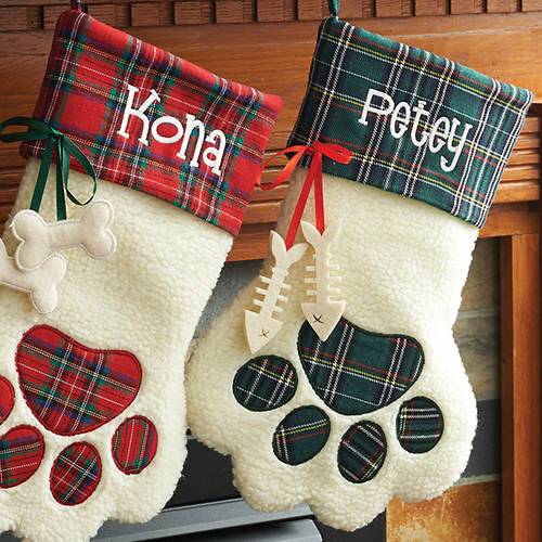 Personalized Plaid Pet Stocking-Cat