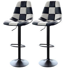 AmeriHome Checkered Racing Bar Chairs