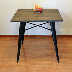 AmeriHome Loft Dining Table with Wood Top