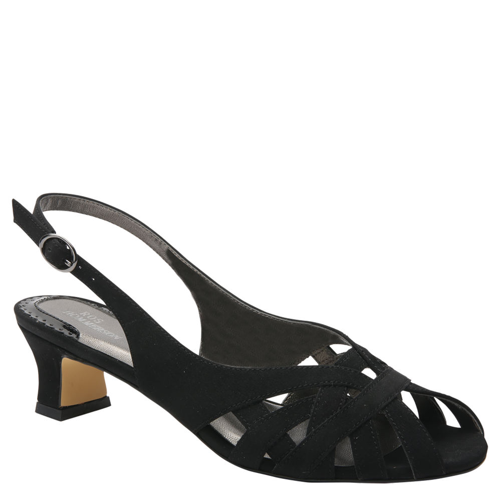 Retro Vintage Style Wide Shoes Ros Hommerson Pearl Womens Black Pump 11 M $119.95 AT vintagedancer.com