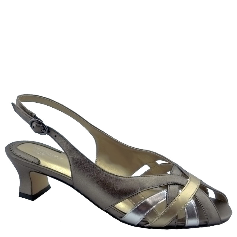 70s Shoes, Platforms, Boots, Heels Ros Hommerson Pearl Womens Metallic Pump 11 W2 $119.95 AT vintagedancer.com