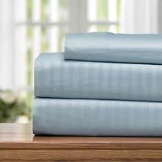 Embossed Stripe Microfiber Sheet Set-Light Blue