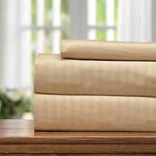 Embossed Stripe Microfiber Sheet Set-Taupe