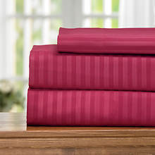 Embossed Stripe Microfiber Sheet Set-Burgundy