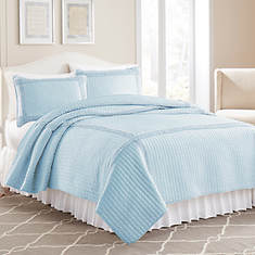 Ruffled Square Quilt Set-Blue