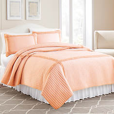 Ruffled Square Quilt Set-Peach