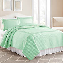 Ruffled Square Quilt Set-Jade