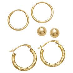 10K Gold Boxed Earring Set