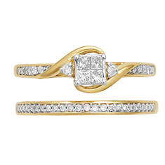 Women's SS/14K 0.23 CT Gld Pltd Bridal Set
