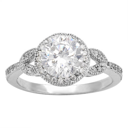 Sterling Silver or Gold-Plated Silver CZ Engagement Ring