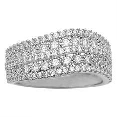 Sterling Silver Wavy CZ Ring