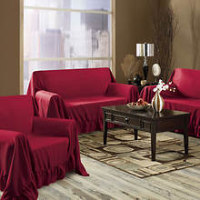 Venice 3-Pc. Furniture Throw-Burgundy