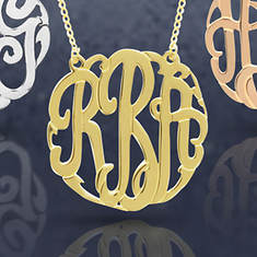 Monogram Necklace-Yellow Gold