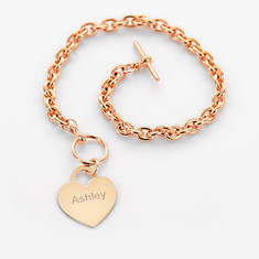 Personalized Heart Bracelet-Rose Gold
