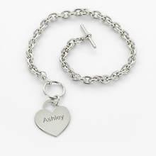 Personalized Heart Bracelet-Silver