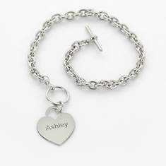 Personalized Heart Bracelet-Silver
