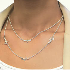 Personalized Sterling Silver Double Layer Necklace-1 Name