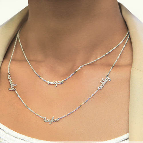 Personalized Sterling Silver Double Layer Necklace-4 Names