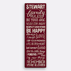 Personalized Family Rules Canvas-Burgundy