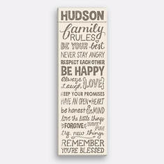 Personalized Family Rules Canvas-Tan