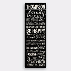 Personalized Family Rules Canvas-Black