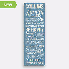 Personalized Family Rules Canvas-Blue