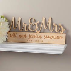 Mr. & Mrs. Personalized Wood Plaque