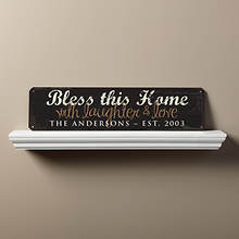 Personalized Bless This Home Sign-Mocha