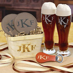 Monogrammed Gift Basket With Personalized Pilsner Beer Glasses