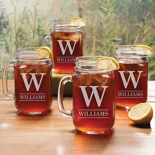 Personalized Mason Jar Glass Set