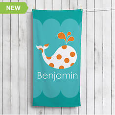 Personalized Whale Beach Towel-Teal
