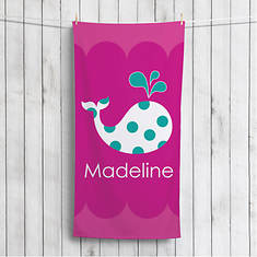 Personalized Whale Beach Towel-Pink