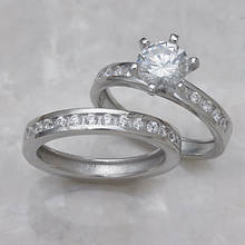 Round Channel Wedding Set-Silver