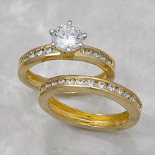 Round Channel Wedding Set-Gold
