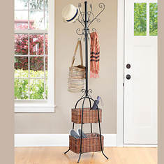 16 Hook Hall Tree with Rattan Baskets