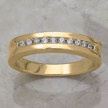 Men's Channel Wedding Band-Gold