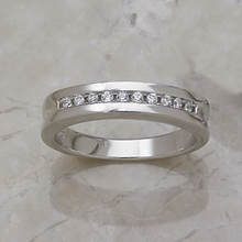 Men's Channel Wedding Band-Silver