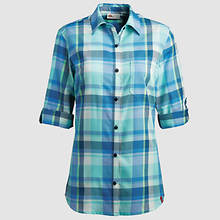 Dickies Women's Quarter Sleeve Plaid Shirt-Blue