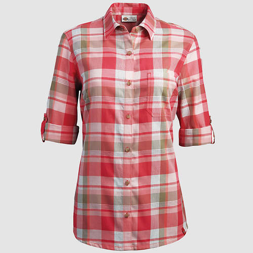Dickies Women's Quarter Sleeve Plaid Shirt