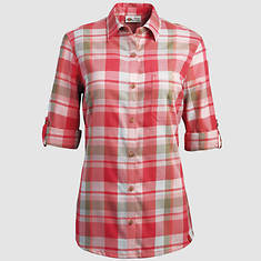 Dickies Women's Quarter Sleeve Plaid Shirt-Rose